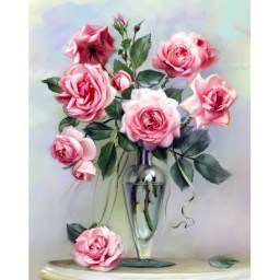 DIAMOND PAINTING KIT ROSES ON THE MARBLE TABLE WD2454