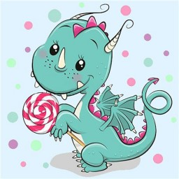 DIAMOND PAINTING KIT DRAGON WITH CANDY WD2471