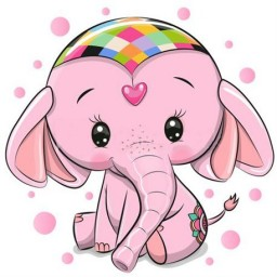 DIAMOND PAINTING KIT PINK ELEPHANT WD2480 Pre-order