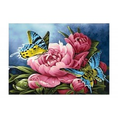 DIAMOND PAINTING KIT BUTTERFLIES AND PEONIES WD2493