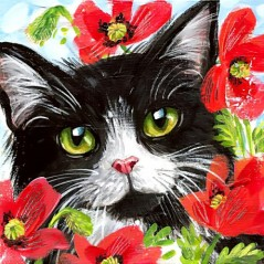DIAMOND PAINTING KIT CAT IN FLOWERS WD292