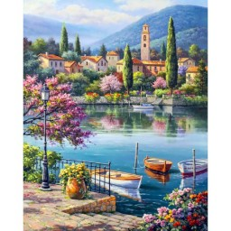 DIAMOND PAINTING KIT VILLAGE LAKE AFTERNOON WD311