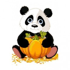 DIAMOND PAINTING KIT PANDA WITH PUMPKIN WD318