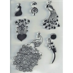 1 PC Transparent Silicone Clear Rubber Stamp Sheet Cling Scrapbooking Peacock