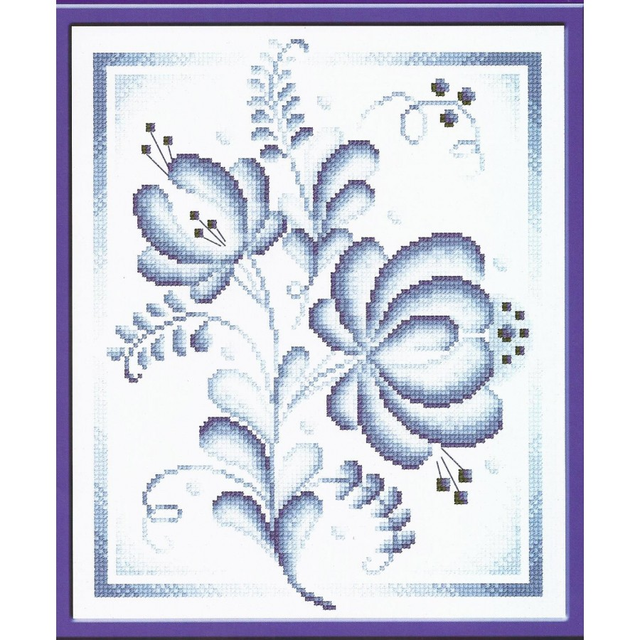 Cross Stitch Kit Blue Roses C-0254