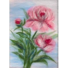 Painting with wool kit Gentle peonies WA-0122