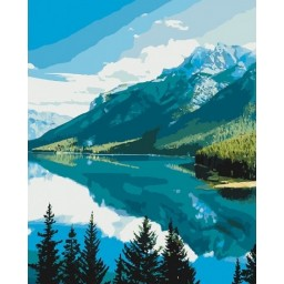 PAINT BY NUMBERS KIT Mountain lake 40 x 50 cm КНО2266 Framed