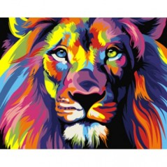 PAINT BY NUMBERS KIT RAINBOW LION 40 x 50 cm. Framed