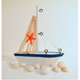Vintage Mediterranean Style Marine Nautical Wooden Blue Sailing Boat Ship Wood Crafts Ornaments Party Home Room Decoration 2