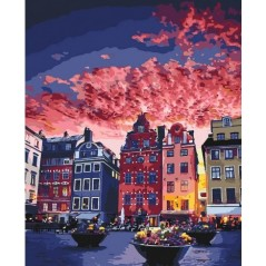 PAINT BY NUMBERS KIT Holidays in Stockholm 40 x 50 cm КНО3558 Framed