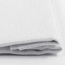 1 Pc White with Silver Metallic 100% Cotton Aida 14 ct 50 x 50 cm