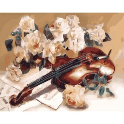 PAINT BY NUMBERS KIT Violin melody 40 x 50 cm КНО5500 Framed