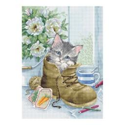 Cross Stitch Kit Cute Kitten B2391