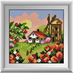 DIAMOND PAINTING KIT Mill with poppy mallows (square, full) 30676D