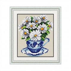 DIAMOND PAINTING KIT Chamomile in a cup (round stones, full) 20029D