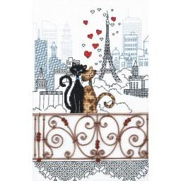 Cross Stitch Kit Lovers - Cats in Paris M-379