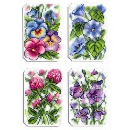 Cross Stitch Kit Beautiful Flowers Magnets R-491 on plastic canvas
