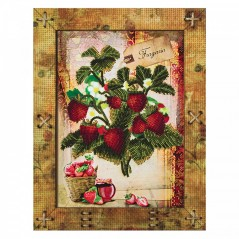 Creative needlework kit with frame Fruit. Strawberry OP5514