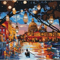 PAINT BY NUMBERS KIT Lights of Venice 40 x 40 cm КНО2183 Framed