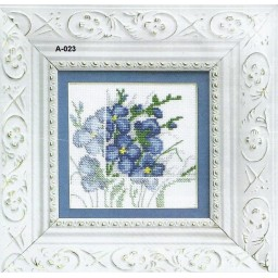 Cross stitch kit Blue flowers A-023