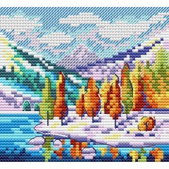 Cross stitch kit Autumn in the mountains M-613