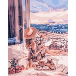 PAINT BY NUMBERS KIT Holidays in Paris 40 x 50 cm КНО4544 Framed