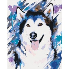 PAINT BY NUMBERS KIT Naughty husky 40 x 50 cm КНО4045 Framed