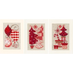 Cross Stitch Kit Christmas - 3 Greeting cards with envelops PN-0146572