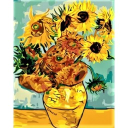 PAINT BY NUMBERS KIT Sunflowers Van Gogh 40 x 50 cm КНО098 Framed