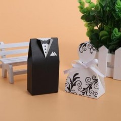 10 pcs Wedding Candy Box Black White Groom Bride Dress Wedding Gift Box Candy Bag Gifts for Guests Favors Bags Event Party Supply