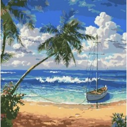 PAINT BY NUMBERS KIT Paradise Island 40 x 40 cm AS0328 Framed