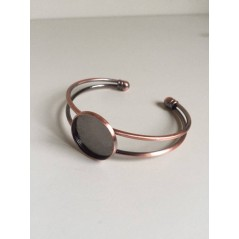 1 pc 20mm Round Bangle Bracelet Blank Tray Cabochon Cameo Base bezel Red Copper art. 185