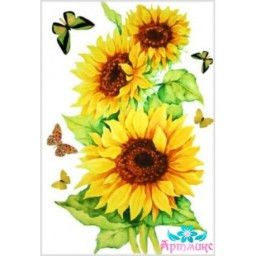 Rice Card For Decoupage SUNFLOWERS WITH BUTTERFLIES 21X29 CM AM400022D