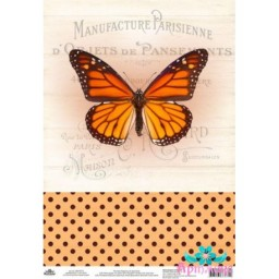 Rice Card For Decoupage VINTAGE MOTIVES BUTTERFLY NUMBER 2 AM400375D
