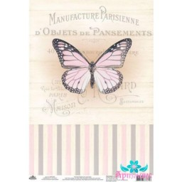 Rice Card For Decoupage VINTAGE MOTIVES BUTTERFLY NUMBER AM400395D