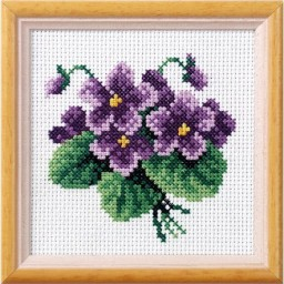 Cross Stitch Kit Flowers art. 7518 with printed canvas