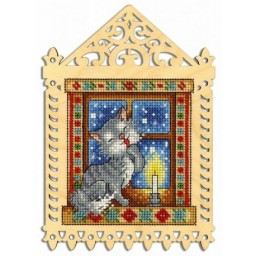 Cross Stitch Kit WINTER EVENING O-001 on perforated plywood base