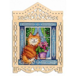 Cross Stitch Kit UNDER THE SPRING SUN SO-002 on perforated plywood base  Pre-order