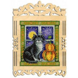 Cross Stitch Kit FLUFFY WATCHMAN SO-003 on perforated plywood base