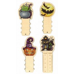Cross Stitch Kit FUNNY HORROR STORIES. RULER + 3 REELS on perforated plywood base O-007