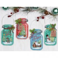 Cross Stitch Kit CHRISTMAS JAR ORNAMENTS art. 70-089641