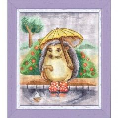Cross Stitch Kit Hedgehog with umbrella D-060