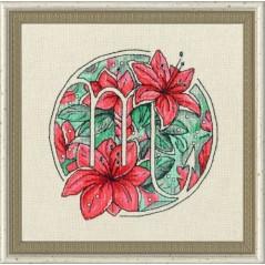 Cross Stitch Kit Flower Horoscope Scorpio after Deidra Lissa's painting TSG-008