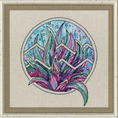 Cross Stitch Kit Flower Horoscope Aquarius after Deidra Lissa's painting TSG-011