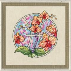 Cross Stitch Kit Flower Horoscope Pisces after Deidra Lissa's painting TSG-012