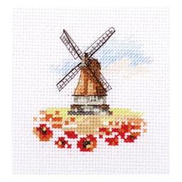 Cross Stitch Kit Windmill in a Poppy field art. 0-197