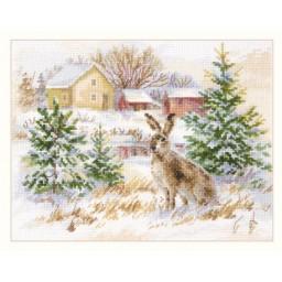 Cross Stitch Kit Winter Day. Brown Hare art. 1-31