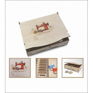 Embroidery on wooden base. Embroidery box art. 1213