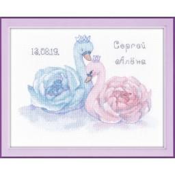 Cross Stitch kit Wedding Sampler. Swans art. 1226