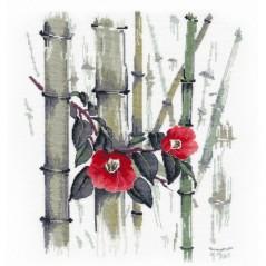 Cross Stitch Kit Camellias in bamboo grove art. 1268